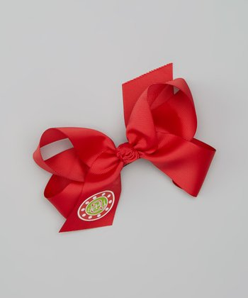 Red & Green Polka Dot Personalized Bow Clip