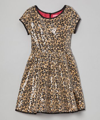 Tan Leopard Sequin Dress