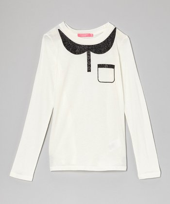 Cream Faux Collar Pocket Top