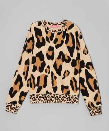 Tan Big Leopard Sweater