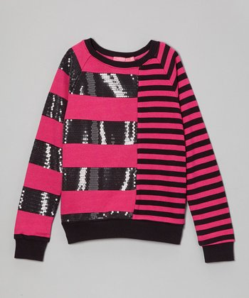 Black & Fuchsia Stripe Sequin Sweater