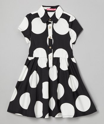 Black & White Polka Dot Button Dress