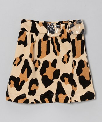 Tan Leopard Sequin Bow Skirt