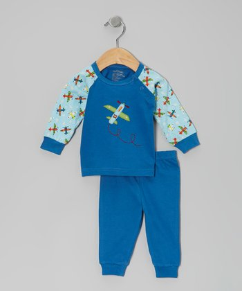 Blue Airplane Organic Raglan Top & Pants - Infant