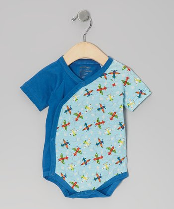 Blue Airplane Organic Bodysuit - Infant