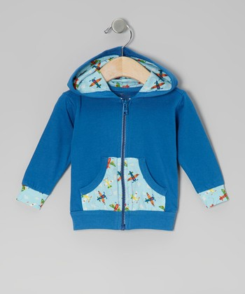 Blue Airplane Organic Zip-Up Hoodie - Infant