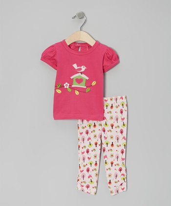 Pink Bird Tree Organic Top & Pants - Infant