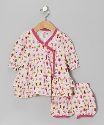 Pink Bird Tree Organic Surplice Dress & Bloomers - Infant