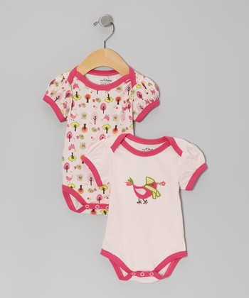 Pink Bird Tree Organic Bodysuit Set - Infant