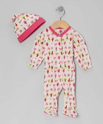 Pink Bird Tree Organic Footie & Single-Knot Beanie - Infant