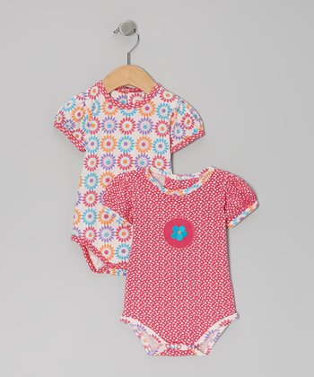 Pink Flower Organic Bodysuit Set - Infant