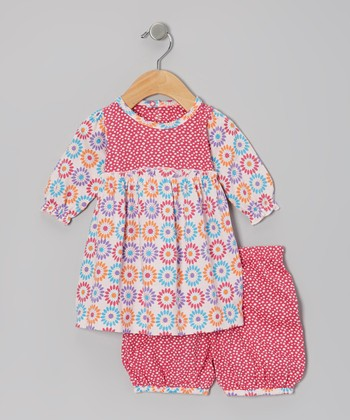 Pink Flower Organic Dress & Bloomers - Infant