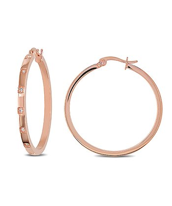 Sparkle & Rose Gold Hoop Earrings