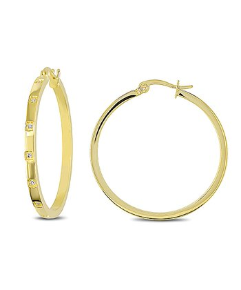 Sparkle & Yellow Gold Hoop Earrings