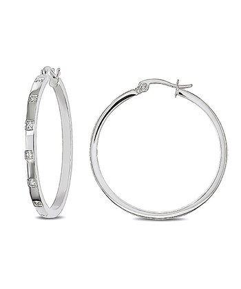 Sparkle & Stainless Steel Hoop Earrings