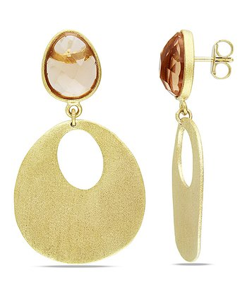 Peach Sparkle & Yellow Gold Drop Earrings