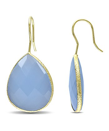 Chalcedony & Yellow Gold Teardrop Earrings