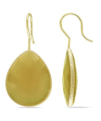 Yellow Onyx & Yellow Gold Teardrop Earrings