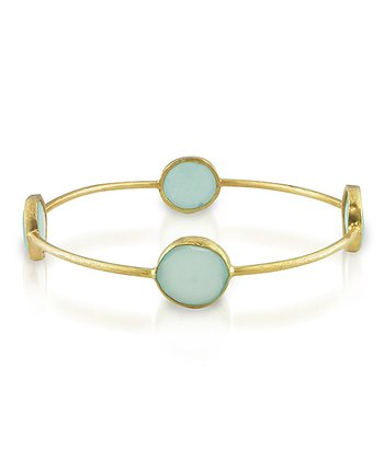 Sea Green Chalcedony & Yellow Gold Bangle