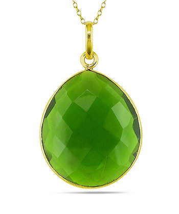 Green Sparkle & Yellow Gold Pendant Necklace