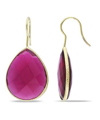 Red & Yellow Gold Teardrop Earrings