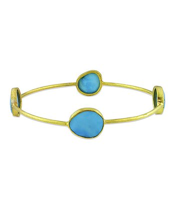 Turquoise & Yellow Gold Bangle