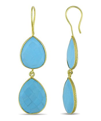 Turquoise & Yellow Gold Double Teardrop Earrings