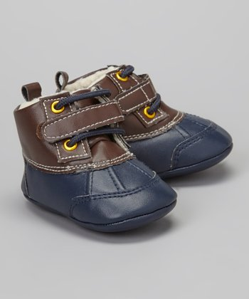 Navy & Chocolate Brown Duck Boot