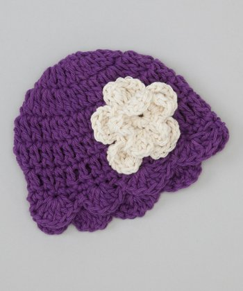 Purple Flower Scallop Crocheted Beanie