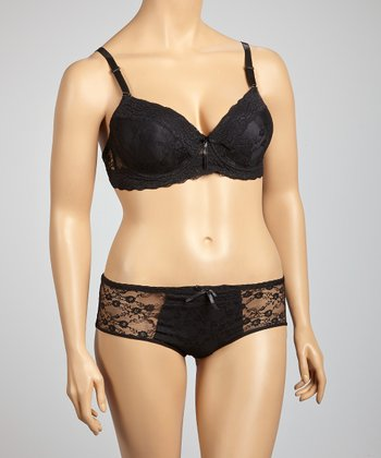 Black Lace Plus-Size Bra & Hipster - Plus
