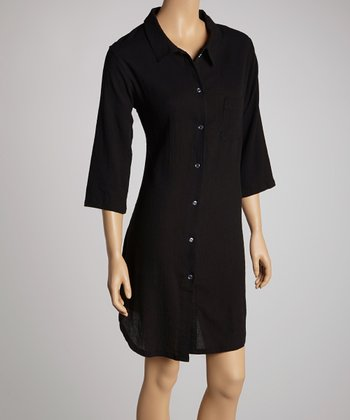 Black Pocket Sleepshirt - Women