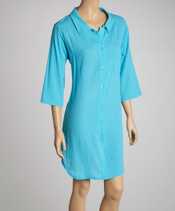 Turquoise Pocket Sleepshirt - Women