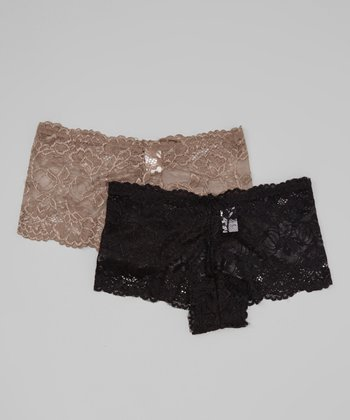Black & Taupe Lace Tanga Set - Women