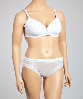 5th Avenue Intimates White Rhinestone Convertible Bra & Bikini Briefs - Plus