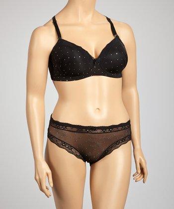 5th Avenue Intimates Black Rhinestone Convertible Bra & Bikini Briefs - Plus