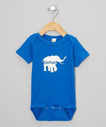 Blue & White Elephant Personalized Bodysuit - Infant