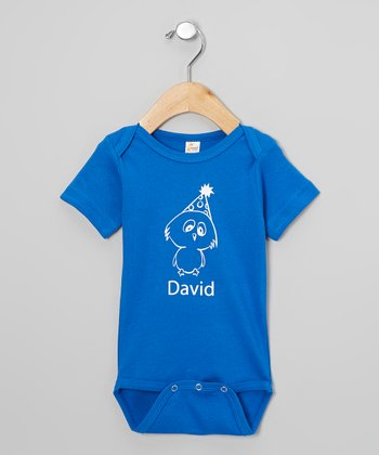 Blue & White Personalized Party Bird Bodysuit - Infant