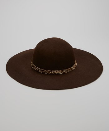 Brown Wool Chain Floppy Hat