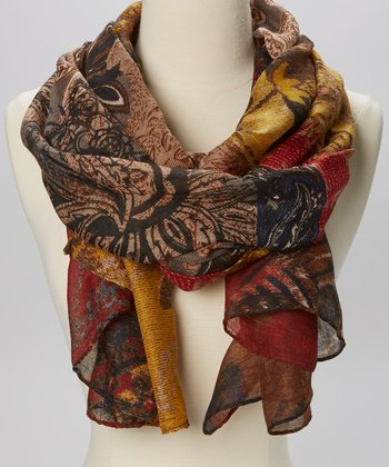 Brown & Yellow Floral Scarf