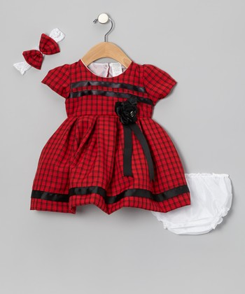 Red & Black Plaid Rosette Dress Set - Infant