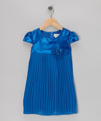 Royal Blue Pleated Cap-Sleeve Dress - Toddler & Girls