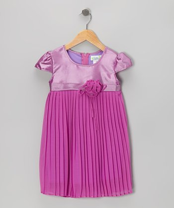 Purple Pleated Cap-Sleeve Dress - Toddler & Girls
