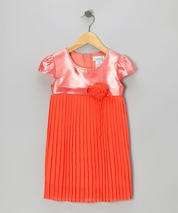 Coral Pleated Cap-Sleeve Dress - Toddler & Girls