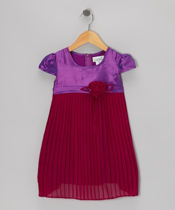 Purple & Maroon Pleated Cap-Sleeve Dress - Toddler & Girls
