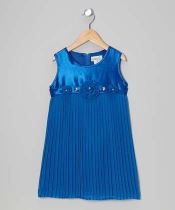 Royal Blue Pleated Shift Dress - Toddler & Girls