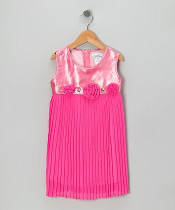 Pink Pleated Shift Dress - Toddler & Girls
