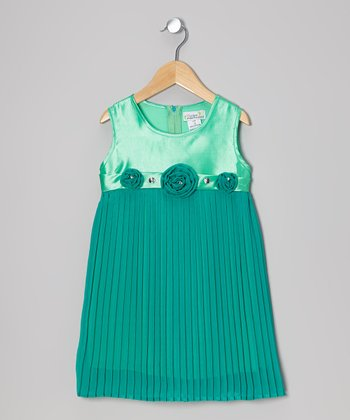 Green Pleated Shift Dress - Toddler & Girls
