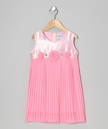 Light Pink Pleated Shift Dress - Toddler & Girls
