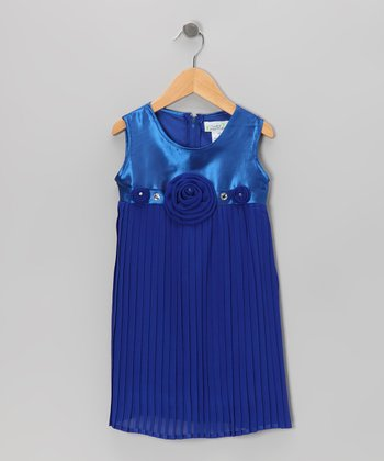 Royal Blue Rosette Cluster Pleated Shift Dress - Toddler & Girls