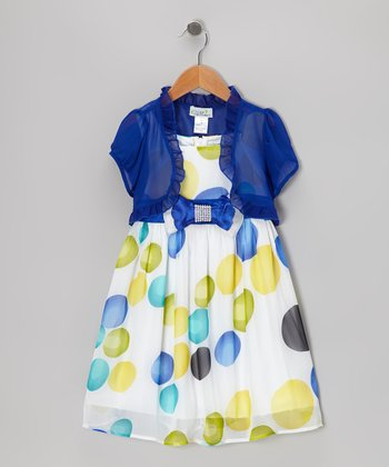 Royal Blue & Off-White Dots Dress & Shrug - Girls